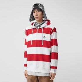 Burberry Zip Detail Striped Cotton Hoodie in Red