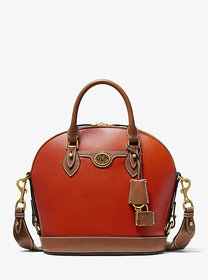 Michael Kors Monogramme Two-Tone Leather Bowling S