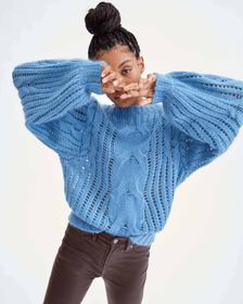 7 For All Mankind Open Weave Pullover in Blue Dusk