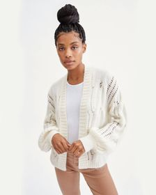 7 For All Mankind Open Weave Cardigan in Ivory
