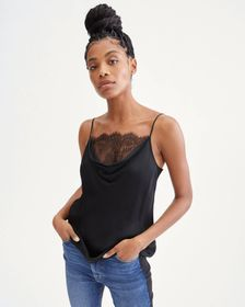 7 For All Mankind Lace Cowl Cami in Jet Black