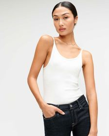 7 For All Mankind Baby Rib Racerback Tank in Optic