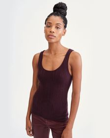 7 For All Mankind Rib Racer Tank in Wine