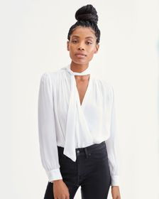 7 For All Mankind Tie Neck Twist Front Blouse in O
