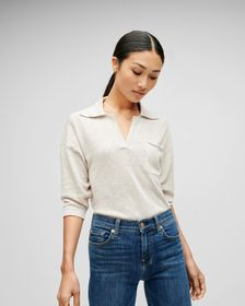 7 For All Mankind Short Sleeve Polo Sweater in Oat
