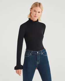 7 For All Mankind Crop Turtleneck with Ruffle Slee