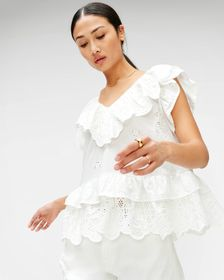 7 For All Mankind Double Ruffle Eyelet Top in Opti