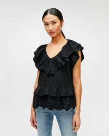 7 For All Mankind Double Ruffle Eyelet Top in Jet