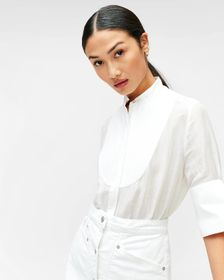 7 For All Mankind Yoke Front Blouse in Optic White