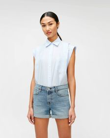 7 For All Mankind Sleeveless Cuffed Button-Up Shir