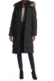 Nine West Faux Fur Trim Hood Puffer Coat