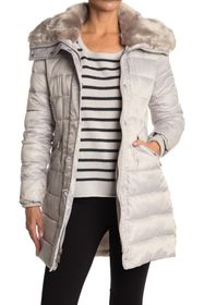 Nine West Faux Fur Lined Hood Puffer Jacket