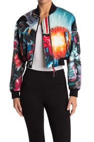 MOSCHINO Graphic Cropped Bomber Jacket