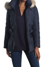 Donna Karan Faux Fur Hooded Puffer Jacket