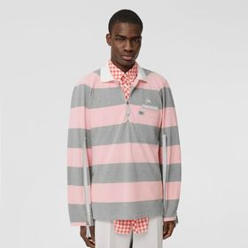 Burberry Long-sleeve Zip Detail Striped Cotton Pol