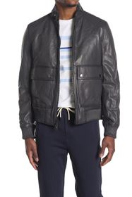 Michael Kors Mock Neck Leather Bomber Jacket