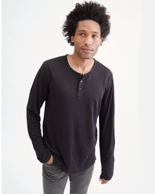 7 For All Mankind Long Sleeve Uniform Henley in Bl