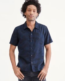 7 For All Mankind Printed Short Sleeve Shirt in Na