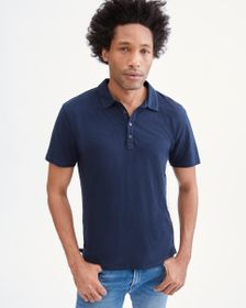7 For All Mankind 3 Button Linen Polo in Navy