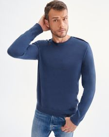 7 For All Mankind Crewneck Sweater with Shoulder D