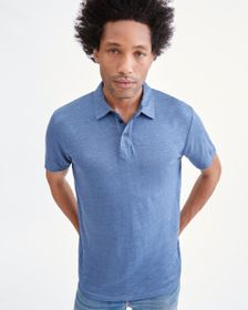 7 For All Mankind 3 Button Linen Polo in Cadet Blu