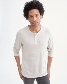 7 For All Mankind Long Sleeve Uniform Henley in Iv