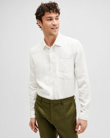 7 For All Mankind Casual One Pocket Shirt in White