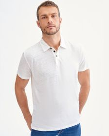 7 For All Mankind 3 Button Linen Polo in White