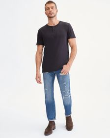 7 For All Mankind Short Sleeve Linen Henley in Bla