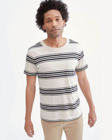7 For All Mankind Modern Tee in Ivory/Black Stripe