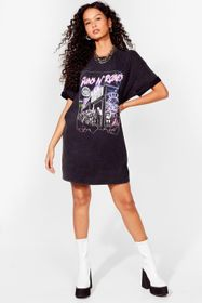 Nasty Gal Black Rock the Night Away Graphic Band T