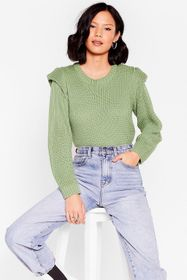 Nasty Gal Sage Good Meets Shoulder Pad Knitted Cre