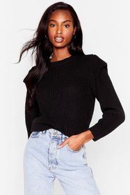 Nasty Gal Black Good Meets Shoulder Pad Knitted Cr