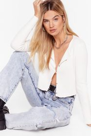 Nasty Gal White Truth Be Told Button-Down Knit Car