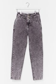 Nasty Gal Grey Wash Me Do It High-Waisted Mom Jean