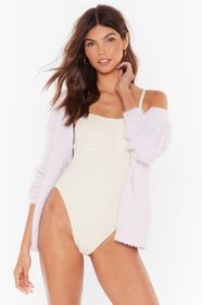Nasty Gal Cream We Just Don't Square Ribbed Cupped