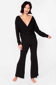 Nasty Gal Black Twist the Truth Knit Wide-Leg Pant