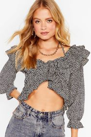 Nasty Gal Black Ruffle on Over Floral Cropped Blou