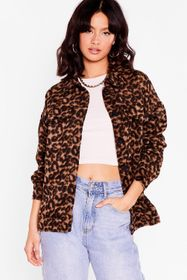 Nasty Gal Brown The Moment is Meow Leopard Shirt J