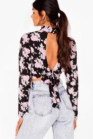Nasty Gal Black Rose to the Challenge High Neck Cr