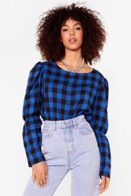 Nasty Gal Cobalt Check the Party Gingham Puff Slee
