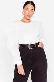 Nasty Gal White Don't Puff Sleeve Me This Way Plus