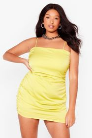 Nasty Gal Lime Be There in a Mini Plus Ruched Dres