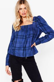 Nasty Gal Cobalt Check Your Facts Square Neck Rela