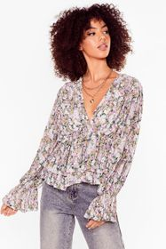 Nasty Gal Lilac It Comes Naturally Floral Pleated