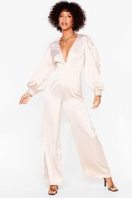 Nasty Gal Champagne Plunge Straight In Satin Wide-