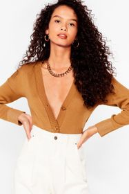 Nasty Gal Sand Tell Knit to My Heart Button-Down C