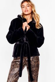 Nasty Gal Black Keep in Touch Belted Faux Fur Jack