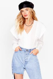 Nasty Gal White Layer It on Thick Puff Shoulder Bl