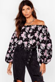 Nasty Gal Black Grow Our Worth Floral Off-the-Shou